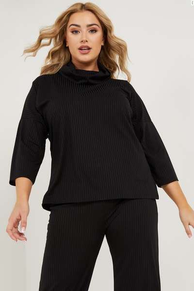 Curve Black Ribbed Roll Neck Top